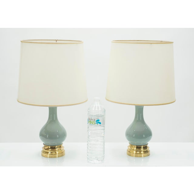 Mid-Century Pair of French Light Blue Ceramic and Brass Lamps 1960s For Sale - Image 6 of 9