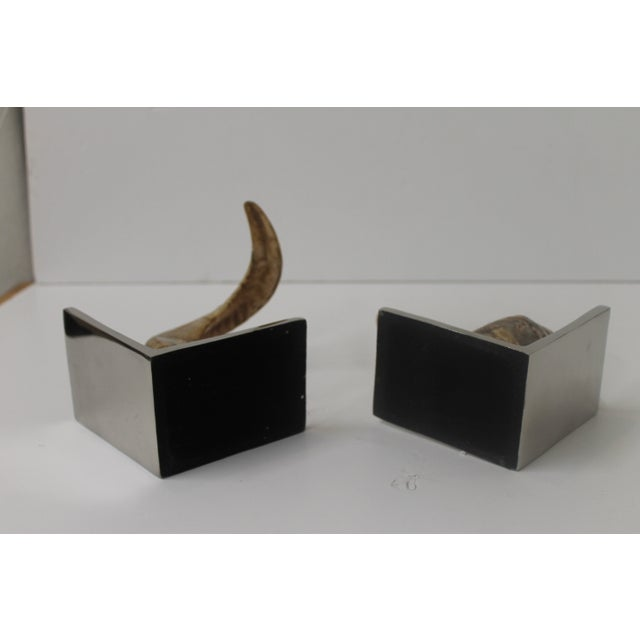 Horn Bookends on Steel Bases - Image 6 of 7