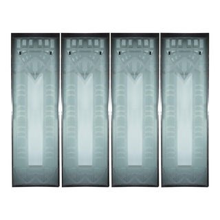 Art Deco Glass Door Panels - Set of 4