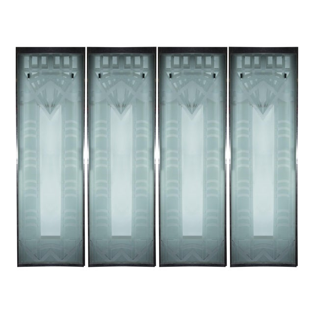 Art Deco Glass Door Panels Set Of 4 Chairish