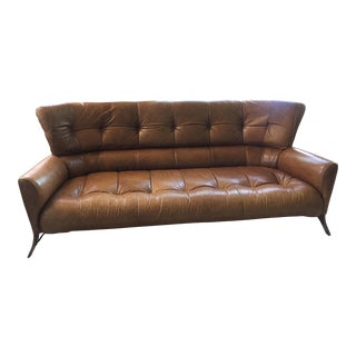 1980s Vintage Pacific Green Palmwood and Congac Leather Sofa For Sale