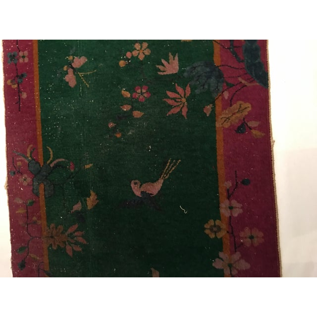 Antique Chinese Art Deco Flowers & Birds Rug - 2′11″ × 4′10″ - Image 6 of 9