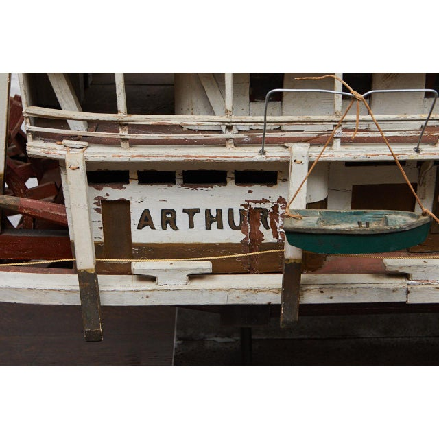 Brass Folk Art Paddle Boat 'Arthur' of Paducah, Ky For Sale - Image 7 of 10