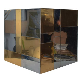 Paul Evans Brass Stainless Steel Mirror Cityscape Catch All For Sale