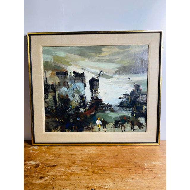 Striking brutalist style original oil on canvas by Jean Falesh of a Parisian industrial setting. A combination of heavy...
