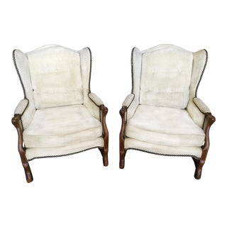 French Louis XV Wing Chairs W/ White Chenille Velvet- a Pair For Sale