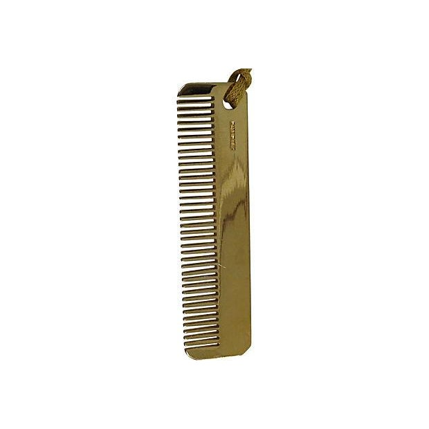 Americana Judith Leiber Brass Comb with Tassle For Sale - Image 3 of 5