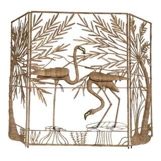 Vintage Mario Lopez Torres Flamingo Palm Screen For Sale