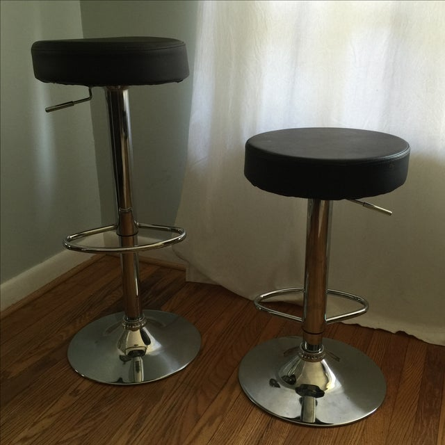 Leather & Chrome Adjustable Bar Stools - A Pair - Image 6 of 6