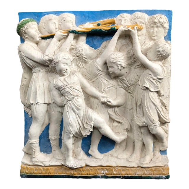 Early 20th Century Painted Frieze with Cherubs For Sale