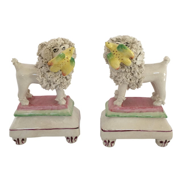 Antique Staffordshire Poodle Dog Figurines - A Pair For Sale