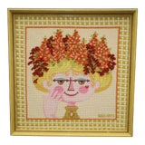 Image of Bjorn Wiinblad Attributed Framed Needlepoint For Sale