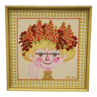 Bjorn Wiinblad Attributed Framed Needlepoint For Sale