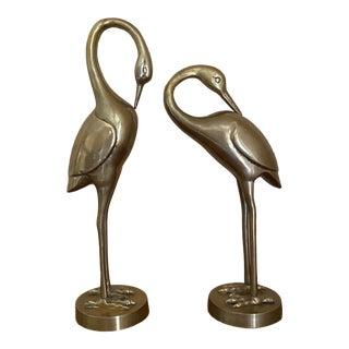 Mid-Century Brass Crane Figurines - Set of 2 For Sale