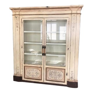 Gray Stenciled Brazil Baroque Cabinet For Sale