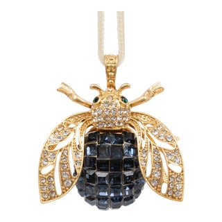 Sparkle Bee Hanging Ornament, Navy For Sale
