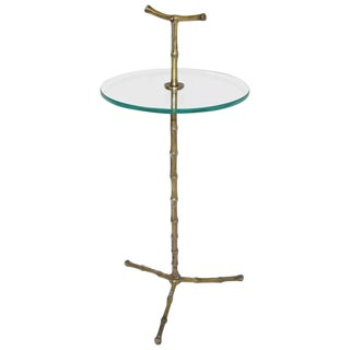 1950s Contemporary Baguès Faux Bronze Bamboo Side Table