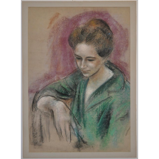 Fabulous Forties Pastel Portrait by Noted American Artist Dan Dickey (1910-1961) Though untitled, we are calling this...