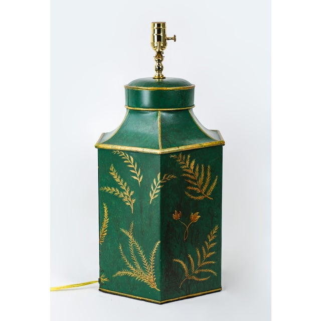 Vintage English Export Painted With Ferns Leave Style Green Hexagonal Tea Caddy Lamp For Sale In New York - Image 6 of 9