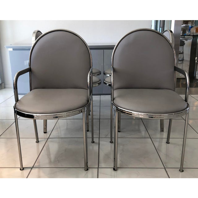 1980s Set of 6 Rougier Chrome Dining Chairs For Sale - Image 5 of 8