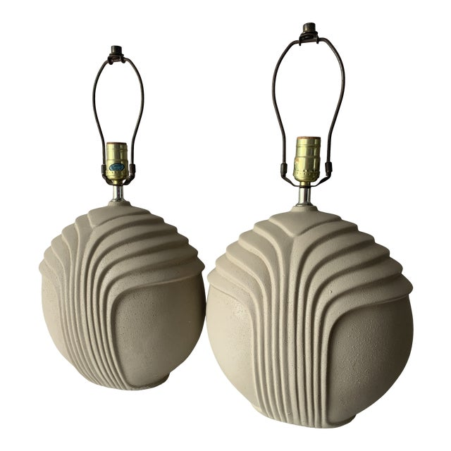 1980's Art Deco Style Plaster Table Lamps - a Pair For Sale