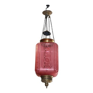 Antique Baccarat Art Deco Pink Oil Lantern Pendant For Sale