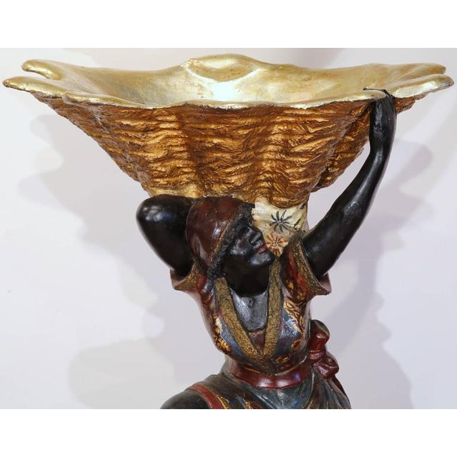 Early 19th Century 19th Century Italian Carved Polychrome Blackamoor Sculpture With Jardiniere For Sale - Image 5 of 10