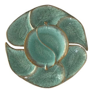 Vintage California Pottery Turquoise and Gold Hors d'Oeurvres Serving Platters - 3 Pc.