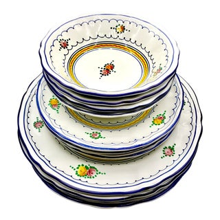 1980s Vintage Majolica for Cottura Italian Dinnerware- Set of 12 For Sale