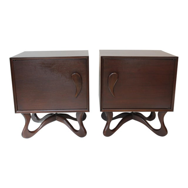 1950s Mid-Century Modern Mahogany Nightstands - a Pair For Sale