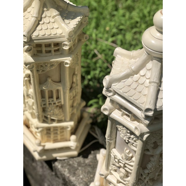 Fabric Faux Bamboo Chinoiserie Style Pagoda Lamps - a Pair For Sale - Image 7 of 8