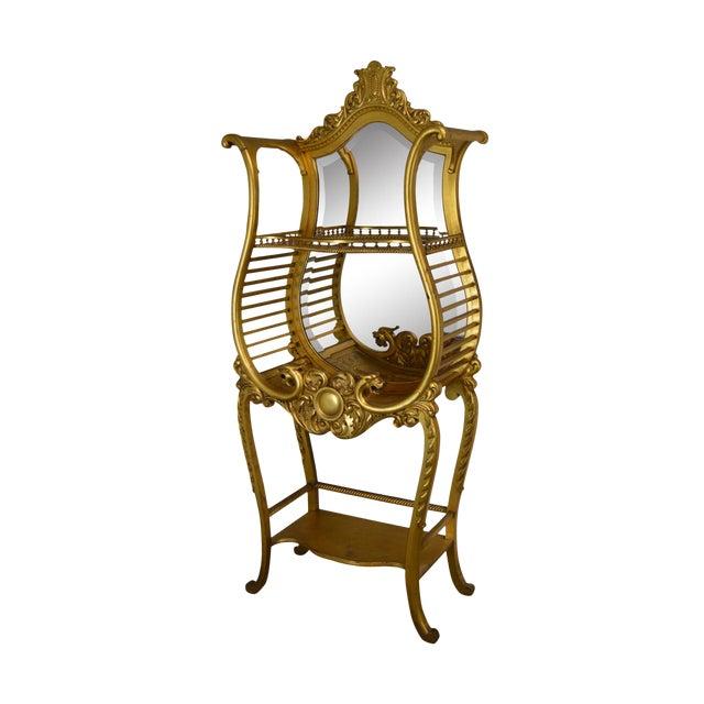 Victorian Era French Louis XV Style Gilt Mirror Back Etagere For Sale