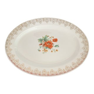 1940s Vintage Edwin M. Knowles Floral Platter For Sale