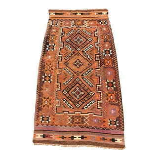 "Vintage Turkish Kilim Wool Rug - 4'9""x10' For Sale"