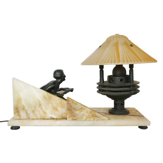 Art Deco Styled Italian Marble Desk Lamp with Bronze Nude For Sale - Image 4 of 9