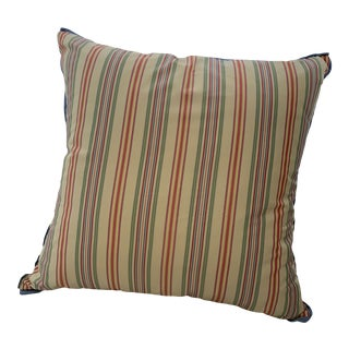 Green & Red Striped Pillow Cover For Sale