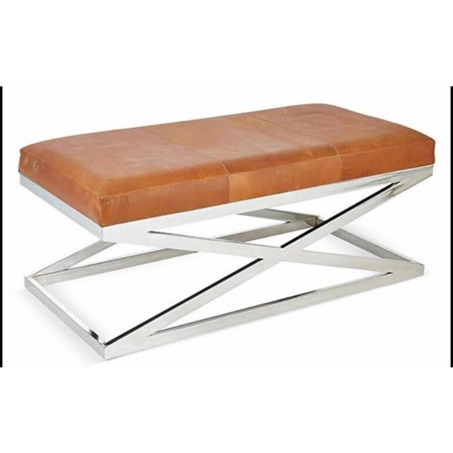 Taylor Burke Home Contemporary Chrome X Bench - Image 2 of 3