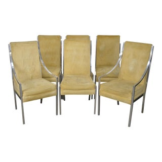 Mid Century Modern Aluminum Frame Dining Chairs after Thayer Coggin - Set of 6 For Sale