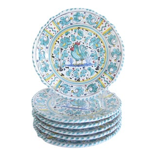 Vintage Mari Deruta Italian Majolica Green Rooster Orvieto Pottery Plates - Set of 6 For Sale