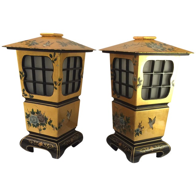 Chinoiserie Gold & Black Lamps - Pair - Image 1 of 6