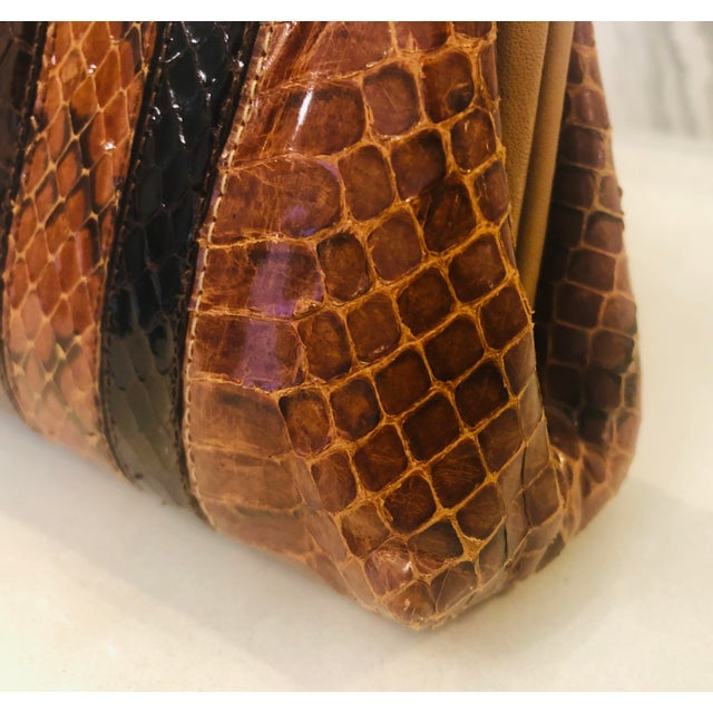 Brown 1980s Vintage Patrizia Multicolored Striped Python Clutch For Sale - Image 8 of 11