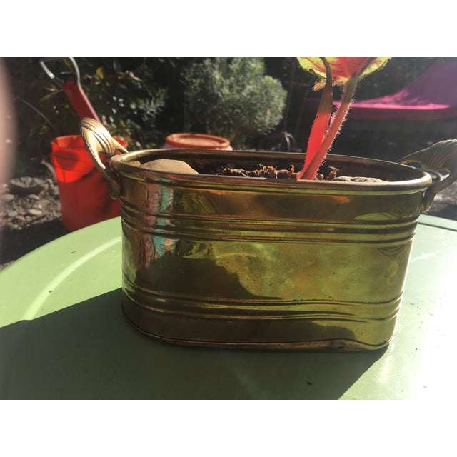 Hollywood Regency 1960s Hollywood Regency Brass Oblong Planter With Shell Detail and Handles For Sale - Image 3 of 10