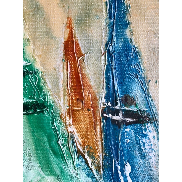 Canvas Coastal Vintage Sail Boats Painting For Sale - Image 7 of 11