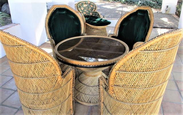This Is A Vintage Wicker Set Of 4 Peacock Chairs With Dining Table. It Is