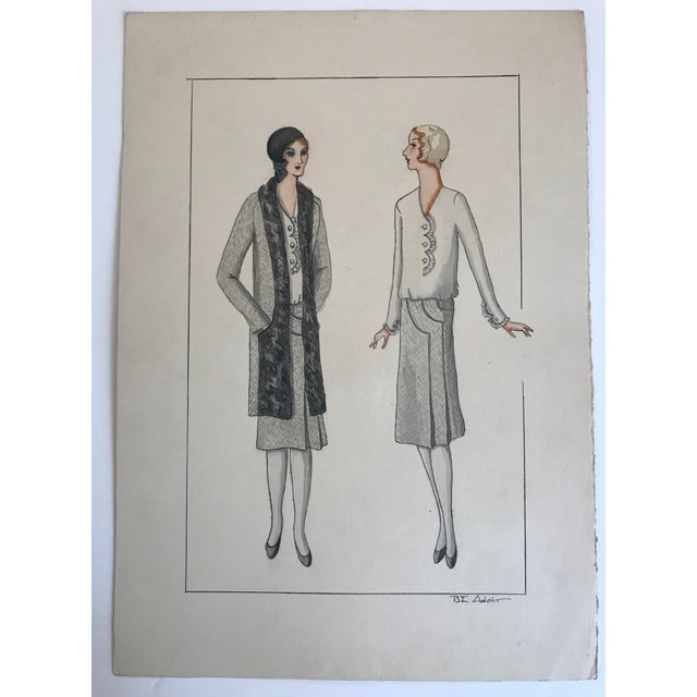 Art Deco Twelve Fashion Designs by University of Washington Student, 1929 For Sale - Image 3 of 13