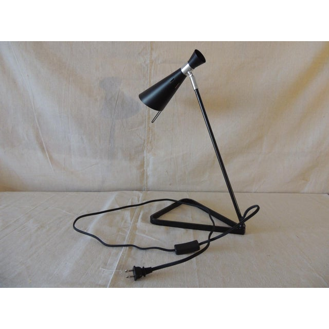 Early 21st Century Mid-Century Modern Style Black Metal Desk Lamp For Sale - Image 5 of 6