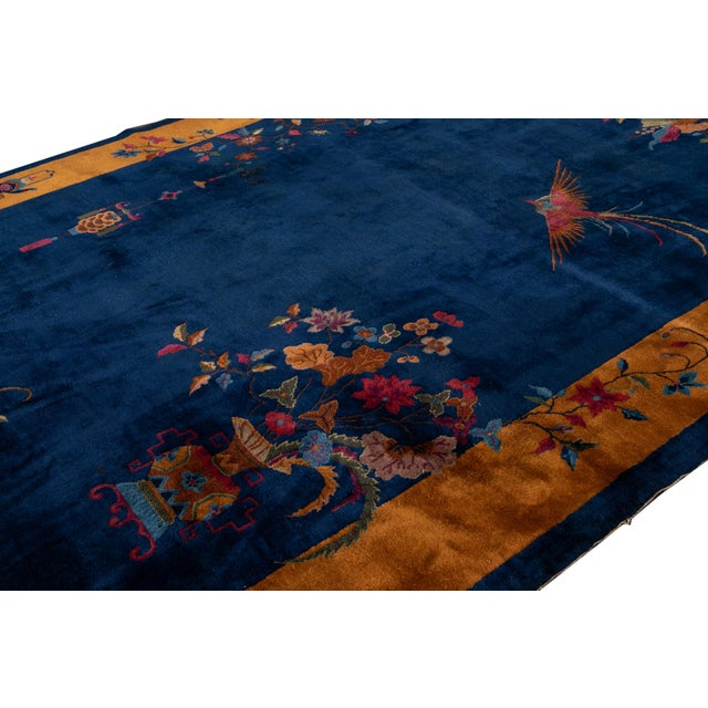 Early 20th Century Antique Art Deco Chinese Wool Rug For Sale - Image 11 of 13