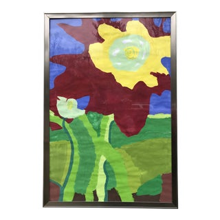 Vibrant Student Painting of a Flower For Sale