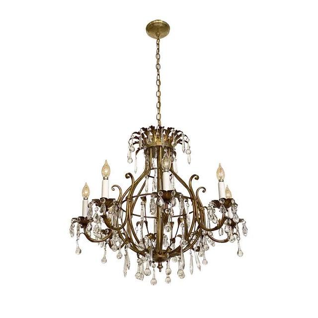 Florentine Style Crystal & Gilt Metal Chandelier For Sale - Image 10 of 10