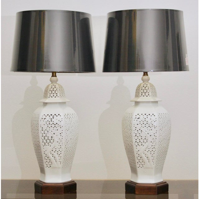 Frederick Copper Blanc De Chine Pierced Chinoiserie Lamps - A Pair For Sale - Image 11 of 11